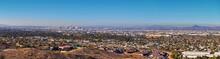 Phoenix Downtown From South Mountain Park And Preserve, Pima Canyon Hiking Trail, Phoenix, Southern Arizona Desert. United States.