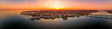 Aerial Sunset Panorama Of Havre De Grace Harford County, Maryland, United States, Situated At The Mouth Of The Susquehanna River And The Head Of Chesapeake Bay One Of The Best American Small Towns