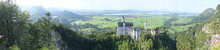 A Panoramic Shot Of The Beautiful Neuschwanstein Castle Captured In Bavarian Germany
