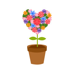 Colorful flower plant in heart shape. Idea for Valentine's Day greeting card, poster, banner. Love tree in flat design on white background.