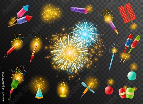 Fotografie, Obraz Firework Crackers Pyrotechnic Dark Background Poster