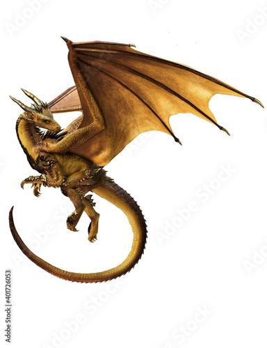 Fotografie, Obraz 3d ilustration gold dragon