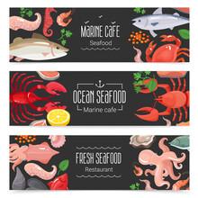 Fresh Seafood 3 Banners Set