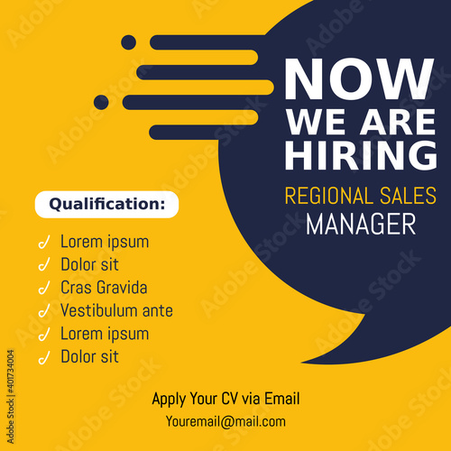 Job recruitment regional sale manager design for companies. Square social media post layout. We are hiring banner, poster, background template