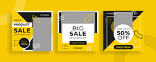 Set Of Editable Templates For Instagram Post, Facebook Square Frame, Social Media, Sale, Advertisement, And Business Promotion, Fresh Color And Minimalist Vector (1/3)