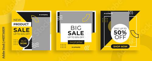 Fototapeta Set of editable templates for Instagram post, Facebook square frame, social media, sale, advertisement, and business promotion, fresh color and minimalist vector (1/3) obraz