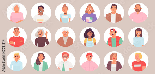 Collection of avatars. A set of portraits of people in a round frame. Men and women of different ages
