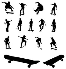 A Set Of Silhouettes Of Skateboarders Isolated On A White Background