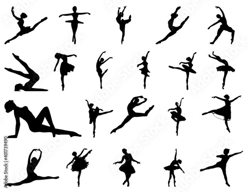 Obraz na plátně A set of silhouettes of dancing ballerinas isolated on a white background