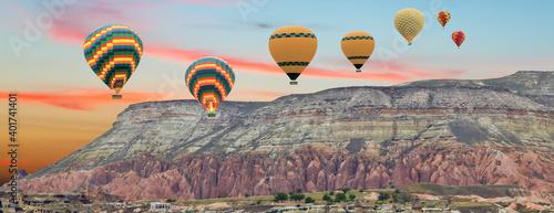 Leinwand Poster balloon air hot flight travel mountain sunset landscape nature.