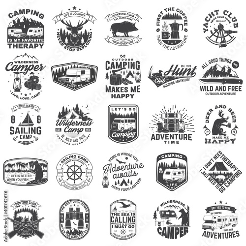 Fotografia, Obraz Set of sailing club, hunting club and camping badges, patches