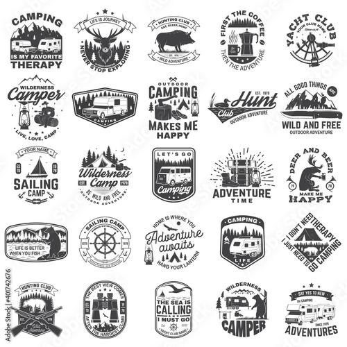 Slika na platnu Set of sailing club, hunting club and camping badges, patches