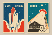 Mars Mission Posters, Banners, Flyers. Vector. Concept For Shirt, Print, Stamp, Overlay Or Template. Vintage Typography Design With Space Rocket And Ufo Flying Spaceship Silhouette.