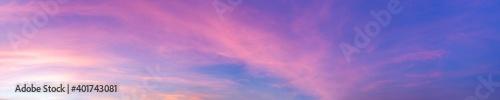 Obraz Dramatic panorama sky with cloud on sunrise and sunset time. Panoramic image. - fototapety do salonu