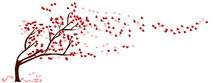 Flat Art Abstract Vector Illustration On Isolated White Background. Red Heart Tree Waver. Tree Of Love. Valentine's Day Concept.