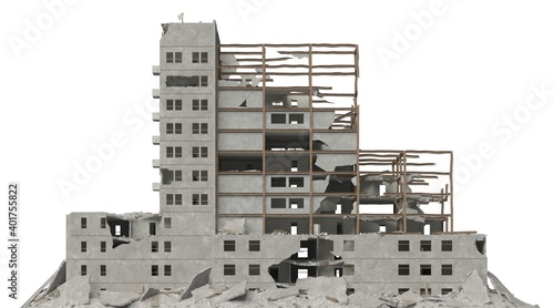 Leinwand Poster Ruined building isolated on white 3d illustration
