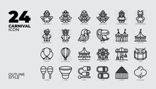 24 Carnival Icon Set Collection In Outline Sytle