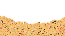 Various Smiling And In Love Emojis At The Bottom, Against A White Backdrop.