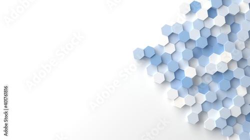 Fotografiet 六角形のオブジェの背景3Dイラスト