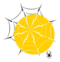 Spider Web With Hanging Spider In The Backlight Of The Sun, Silhouette Icon Eps10 Vector Illustration.