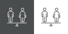 Igualdad De Género. Logotipo Hombre Y Mujer En Balanza Con Lineas En Fondo Gris Y Fondo Blanco