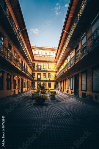 Canvas The famous and well-known courtyards and backyards in the Jewish district of Budapest in Hungary