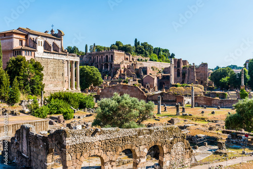 Fototapeta The ancient Roman Forum in Rome, Italy.