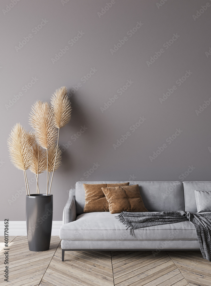 Fototapeta Modern living room interior, gray sofa on dark empty wall mockup