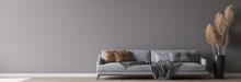 Modern Living Room Interior, Gray Sofa On Dark Empty Wall Mockup, Panorama