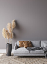 Modern Living Room Interior, Gray Sofa On Dark Empty Wall Mockup