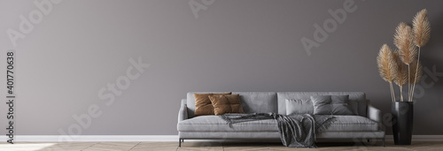 Modern living room interior, gray sofa on dark empty wall mockup, panorama