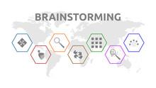Brainstorming. Banner Mit Icons. Teamwork, Think, Research, Combine, Association, Evaluation, Solution. Isoliert Freigestellt Vor Weißem Hintergrund.