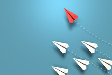 Red Paper Origami Plane Have Individual Direction From Unique White Planes In Different Way On Blue Background. Business Strategy And Opportunity Concept. 3D Illustration