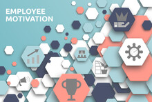 Employee Motivation. Banner Mit Icons. Empowerment, Achievement, Promotion, Reward, Responsibility, Education, Growth.