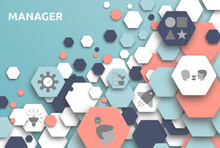 Manager. Banner Mit Icons. Creative, Communicative, Innovative, Inspiration, Successful, Responsibility, Motivating.