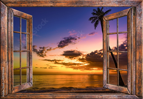 view from the open window of the caribbean sunset Fototapeta