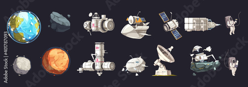 Fotografering Space Ship Isolated Set