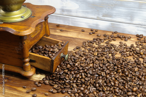 Close up of isolated old retro manual wooden classical coffee grinder drawer on Tapéta, Fotótapéta