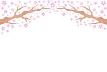 穏やかな手描きの桜の木の背景素材