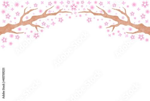 Fotografía 穏やかな手描きの桜の木の背景素材