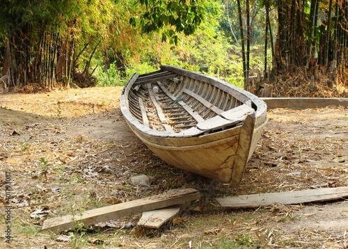 Fototapeta barque à Don Det LAOS