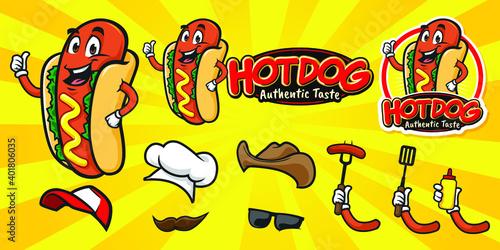 Cartoon happy hot dog character logo Fototapet