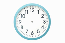 Blue Clock Without Hands On A White Background