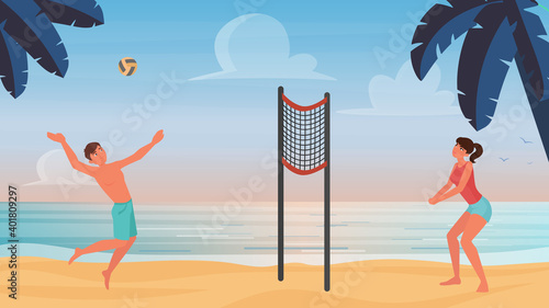 Fotomural Couple people play beach volleyball vector illustration
