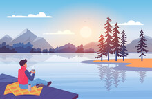 Enjoy Nature At Sunset Vector Illustration. Cartoon Young Man Character Sitting On Wooden Pier, Enjoying Natural Outdoor Landscape, Blue Lake, Island With Pine Trees, Mountains And Sun Above Horizon