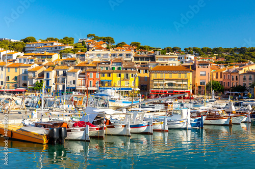 Vászonkép View of the town Cassis, Provence, South France, Europe, Mediterranean sea
