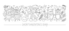 Vector Horizontal Black And White Set With Flat Saint Valentine Day Characters And Elements. Card Template Design With Line Cupid, Funny Animals, Hearts. Cute February Love Holiday Border..