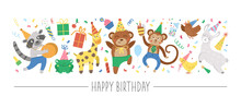 Vector Horizontal Set With Flat Birthday Characters And Elements. Card Template Design With Cupid, Funny Animals, Present, Cake, Confetti. Cute Holiday Party Border, Great For Kids Zone Decoration..