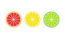 Citrus Slices Symbols Traffic Lights Flat Design