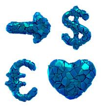 Symbol Plastic Set Arrow, Dollar, Euro, Heart Made Of 3d Render Plastic Shards Blue Color.